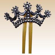 Victorian Cut Steel Hinged Hair Comb Coronet Style Hair Accessory