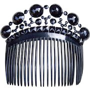 Victorian French Jet Mourning Back Comb Hair Accessory
