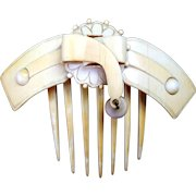Victorian Carved Bone Hinged Hair Comb Hair Accessory