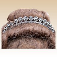 Georgian Cut Steel Tiara with Rosette Design Bridal or Wedding Hair Accessory