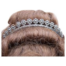 Georgian Cut Steel Tiara with Rosette Design Bridal or Wedding Hair Accessory - Red Tag Sale Item