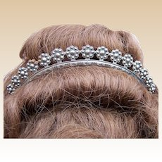Georgian Cut Steel Tiara with Rosette Design Hair Accessory