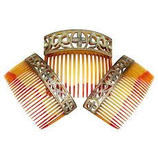 Boxed Set Three Hair Combs Victorian Damascene Work Hair Accessories