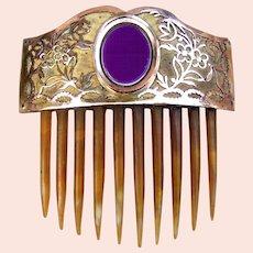 Georgian Hair Comb Fire Gilded Metal Hair Accessory