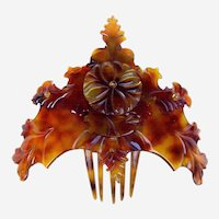 Steer Horn Hair Comb Victorian Hinged and Carved Hair Accessory