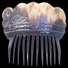 Georgian Hair Comb Pressed Steer Horn Hair Accessory