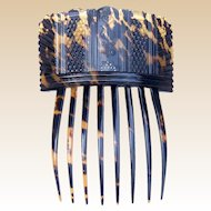 Georgian Hair Comb Tortoiseshell with Pique Inlay Hair Accessory