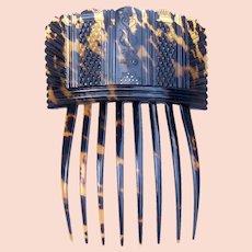 Georgian Hair Comb Tortoiseshell with Pique Inlay Hair Accessory