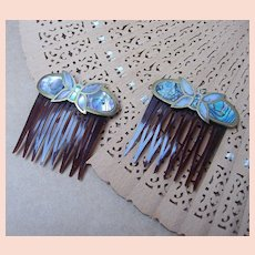 Vintage hair combs 2 Mexican brass, abalone shell and mother of pearl butterfly