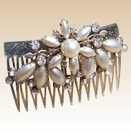 Vintage hair comb Hollywood Regency rhinestone faux pearl hair accessory