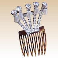 Hollywood Regency hair comb rhinestone with pearl dangles bridal hair accessory