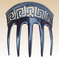 Black Celluloid Comb with Greek Key Design Hair Accessory