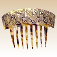 Art Deco Hair Comb Auguste Bonaz Signed Gilded Hair Accessory