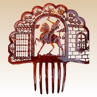 Oversized Spanish Mantilla Hair Comb with Figural Rider Hair Accessory