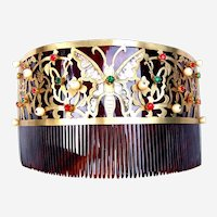 Vintage Panama Hair Comb Faux Tortoiseshell Abalone Butterfly Hair Accessory