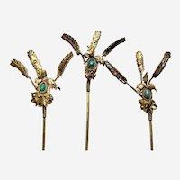 Set of three Chinese trembler hair pins gilded metal  filigree work Qing dynasty (AAK)