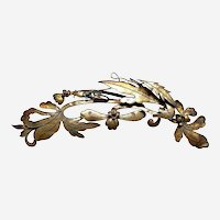 Chinese hair pin tiara style accessory gilded metal flower spray Qing dynasty (AAN)