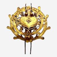 Chinese hair pin gilded metal circular pierced Qing dynasty (AAP)