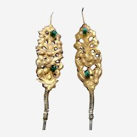 Chinese matched pair single pronged hair pins gilded metal Qing dynasty (AAB)