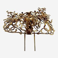 Chinese hair pin elaborate gilded metal wire work phoenix Qing dynasty (AAT)