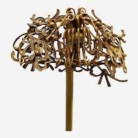 Chinese hair pin elaborate gilded metal wire work Qing dynasty (AAR)