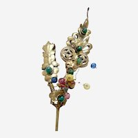 Chinese single pronged hair pin gilded glass stones Qing dynasty (AAC)