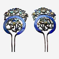 Pair Chinese hair pins enamelled silver tone metal with flowers Qing dynasty (BAC)