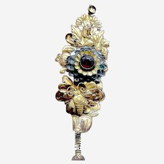 Chinese vintage hair pin ornament with enamel flower Qing dynasty (CAD)