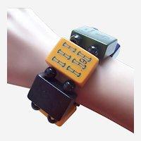 Unusual expanding bracelet marjong pieces black and orange celluloid