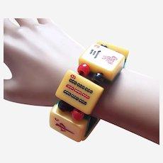 Unusual expanding bracelet marjong pieces orange celluloid