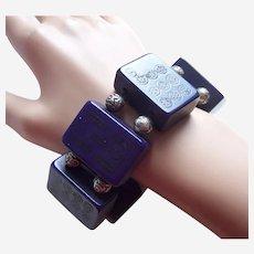Unusual expanding bracelet marjong pieces purple celluloid
