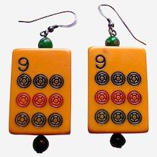 Unusual marjong pieces pierced drop earrings orange celluloid