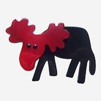 Vintage Pavone brooch pin Moose design red on black galalith