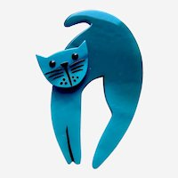 Vintage Pavone brooch pin cat design with arched back teal galalith