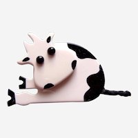 Vintage Pavone brooch pin Holstein cow design black and white galalith