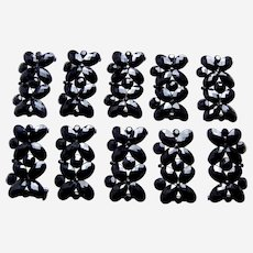 Ten French jet jewelry components sew on fabric trims