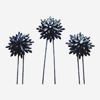 Three late Victorian French jet mourning hair combs or hairpins with star motif