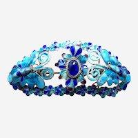 Vintage Chinese tiara style hair ornament enamel Qing dynasty (CAM)