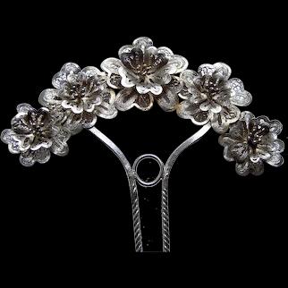 Victorian filigree flowers hair comb silver tone metal