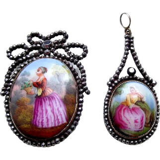 Victorian cut steel and ceramic demi parure brooch and pendant