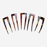 Five late Victorian hair pins celluloid faux tortoiseshell effect