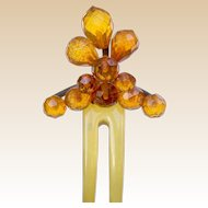 Late Victorian faceted amber hair comb hair accessory