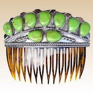 Navajo Gaspeite Vintage Hair Comb Wilson Begay Native American Hair Accessory