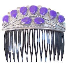 Vintage Navajo Sugilite Hair Comb Wilson Begay Native American Hair Accessory