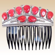 Vintage Navajo Coral Hair Comb Wilson Begay Native American Hair Accessory