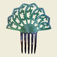 Spanish Style Hair Comb Green Celluloid Art Deco Hair Accessory