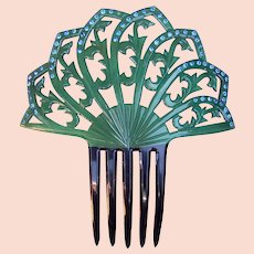 Spanish Style Hair Comb Green Celluloid Art Deco Hair Accessory