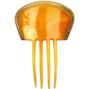 Steer Horn Hair Comb with Gilded Metal Trim Spanish Mantilla Style Hair Accessory