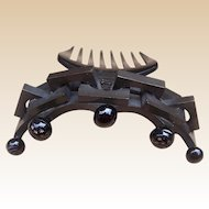 Black steer horn hair comb, Victorian mourning hair accessory cable twist design