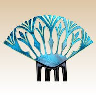 Art Deco blue Egyptian Revival style hair comb Spanish hair accessory